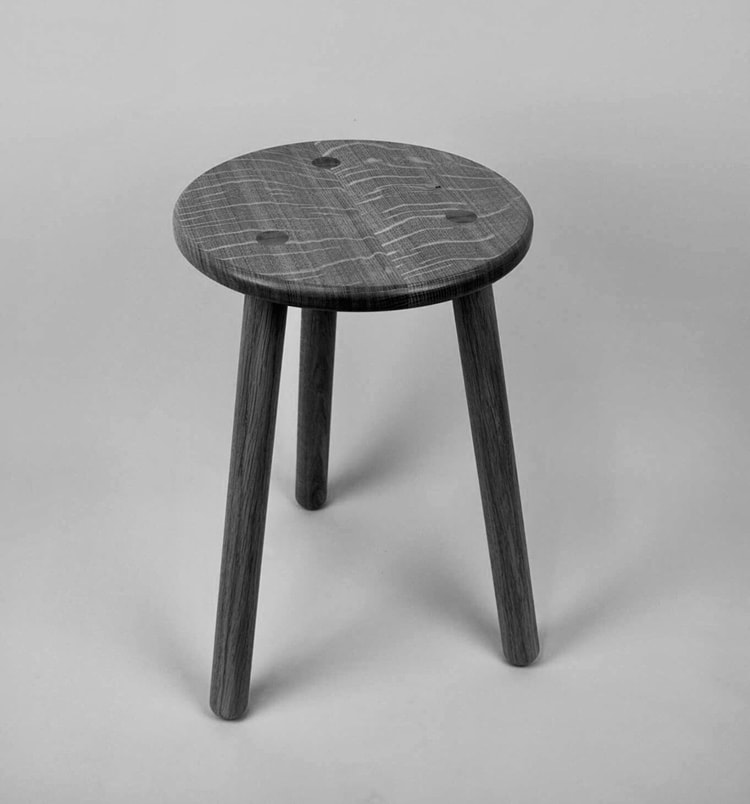 Stable Stool in oak by David Stephenson in Hampshire UK